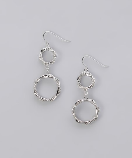 Silver Double Twisted Ring Earrings