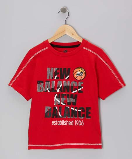 Red 'New Balance New Balance' Tee - Boys