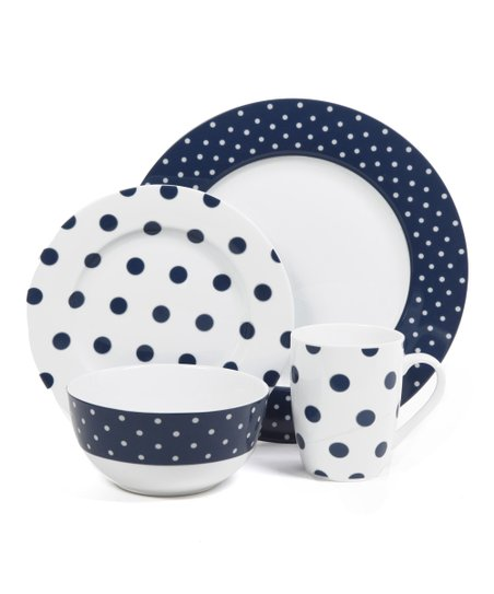 Navy Dot Luxe 16-Piece Fine Ceramic Dinnerware Set