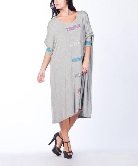 Gray Sequin Dolman Maxi Dress - Plus