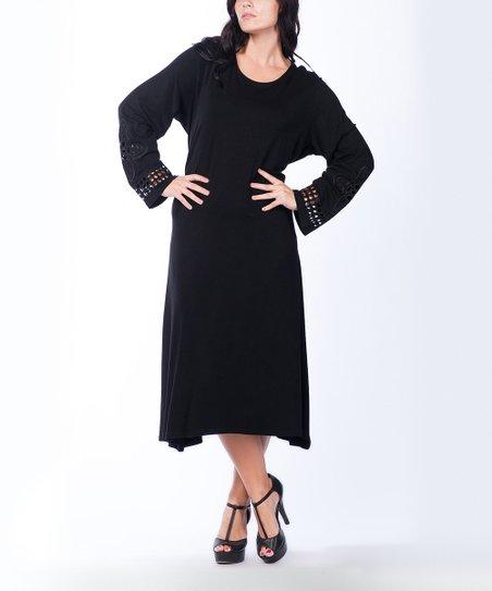 Black Eyelet-Sleeve Maxi Dress - Plus