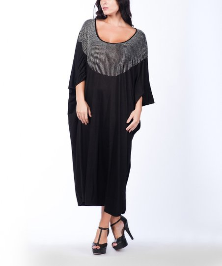 Black Studded Scoop Neck Maxi Dress - Plus