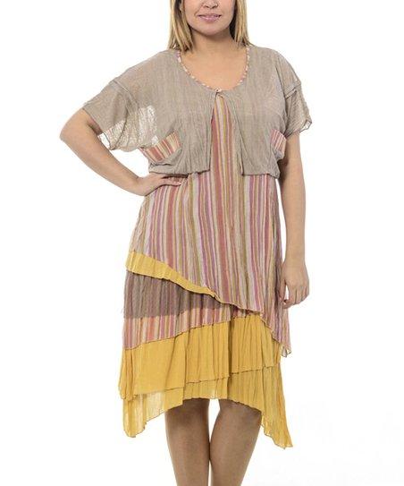 Beige & Yellow Tiered Scoop Neck Dress - Plus