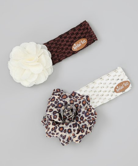 Brown & White Leopard Flower Headband Set