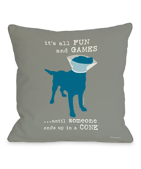 Gray & Blue 'It's All Fun and Games' Throw Pillow