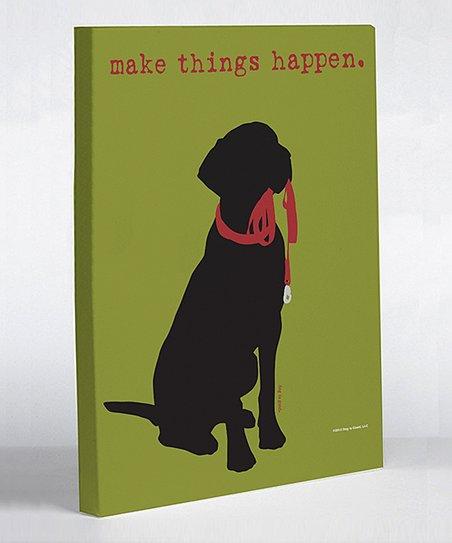 Green 'Make Things Happen' Canvas Art