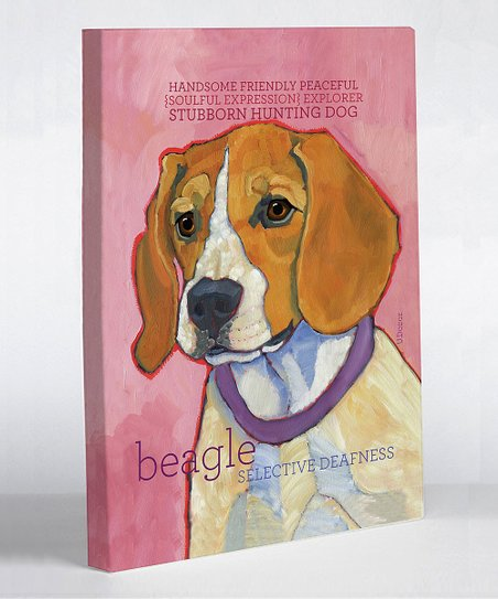 Pink Beagle Canvas Art