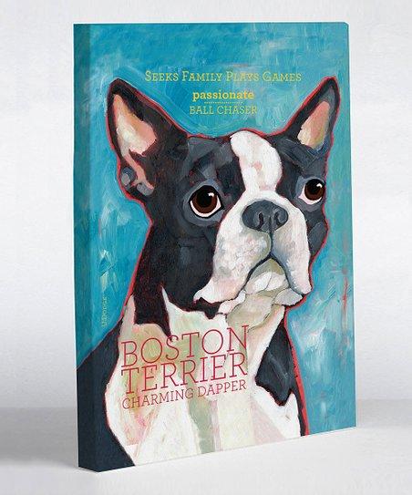 Blue Boston Terrier Canvas Art