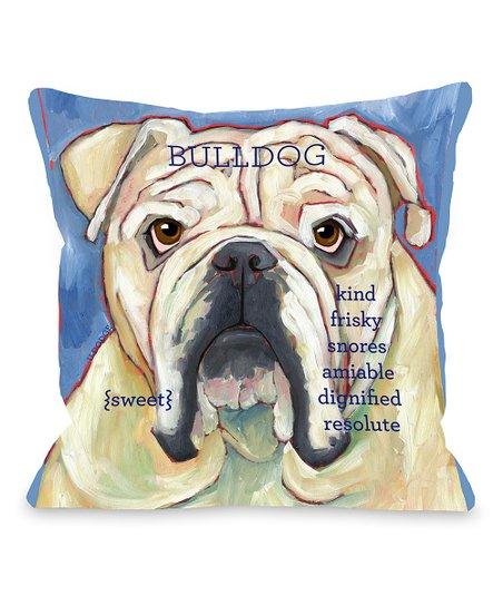 Blue Bulldog Throw Pillow