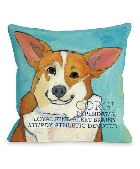 Aqua 'Corgi' Throw Pillow