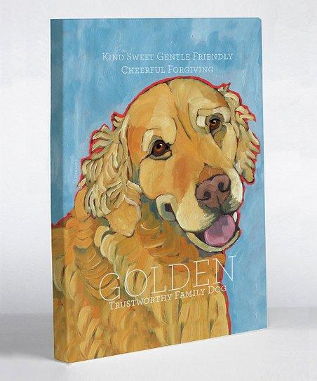 Light Blue Golden Retriever Canvas Art