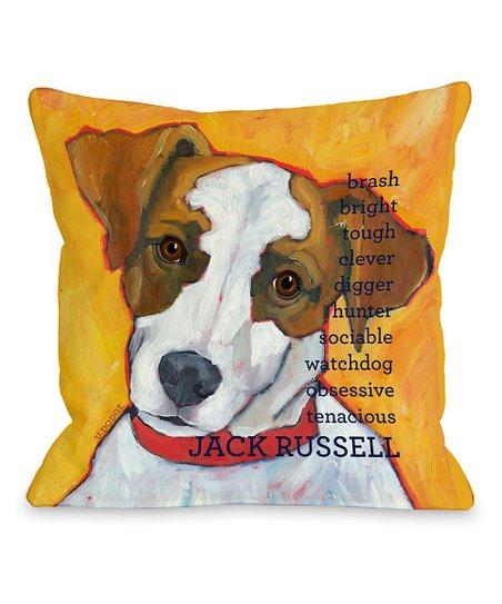 Orange 'Jack Russell' Throw Pillow