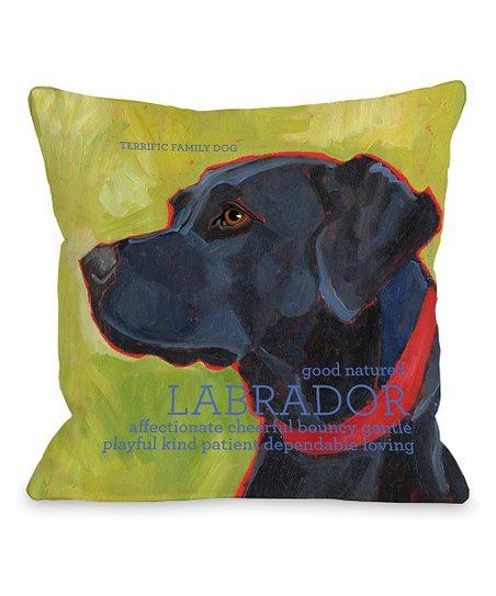 Green & Black Labrador Throw Pillow
