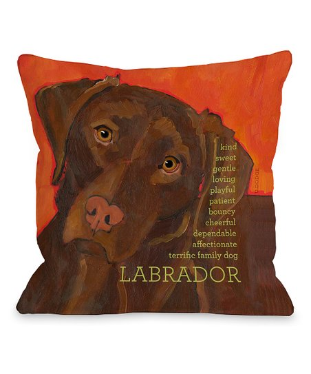 Orange & Chocolate Labrador Throw Pillow