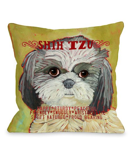Pale Green Shih Tzu Throw Pillow