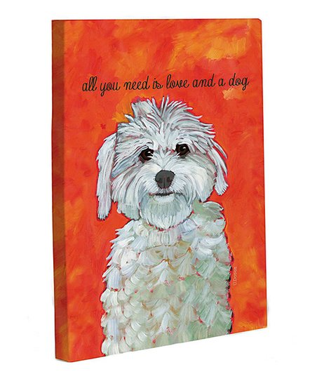 Orange 'Love and a Dog' Canvas Wall Art