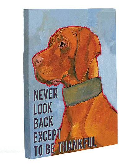 Blue 'Never Look Back' Canvas Wall Art