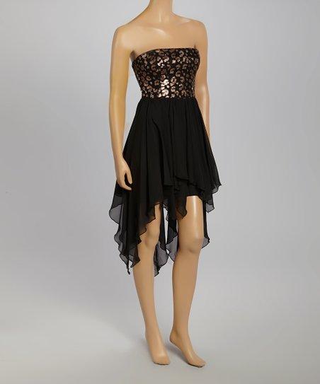 Black & Copper Leopard Handkerchief Hi-Low Dress