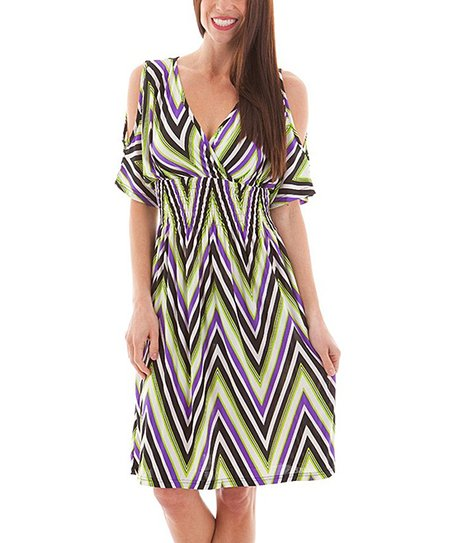 Purple & White Zigzag Cutout Empire-Waist Dress - Women & Plus