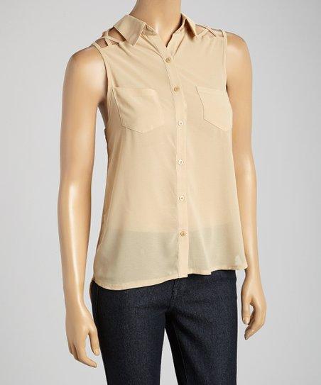 Tan Sheer Lattice-Cutout Button-Up Top