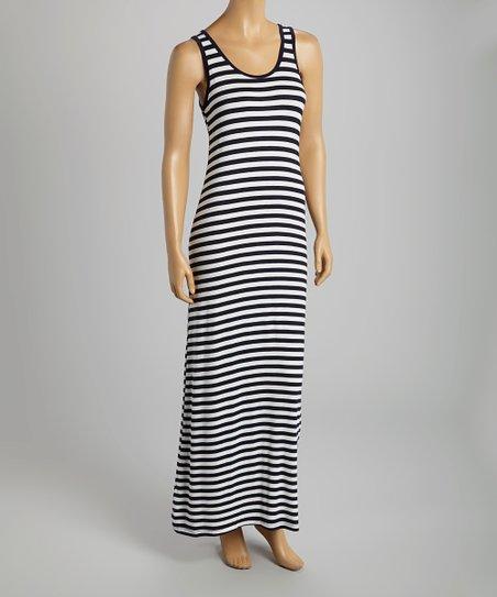Navy & White Stripe Sleeveless Maxi Dress