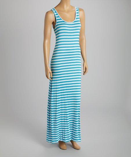 Sky Blue & White Stripe Sleeveless Maxi Dress