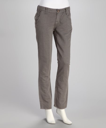 Gray Dusk Linen-Blend Pants