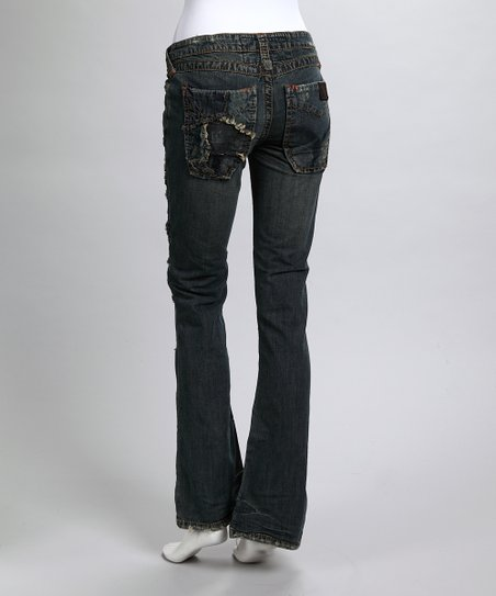 Blue Cheetah Flare Jeans