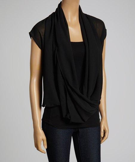 Black Sheer Drape Top – Women