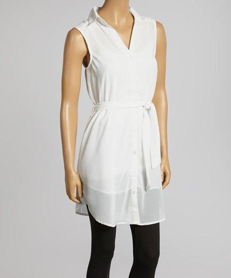 White Sleeveless Button-Up – Women