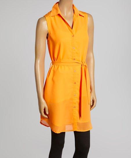 Orange Sleeveless Button-Up – Women