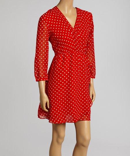 Red & White Polka Dot Surplice Dress – Women