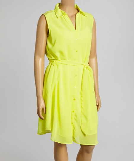 Yellow Lace Shirt Dress – Plus