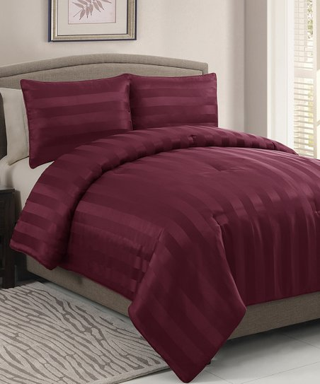 Red Dobby Queen Comforter Set