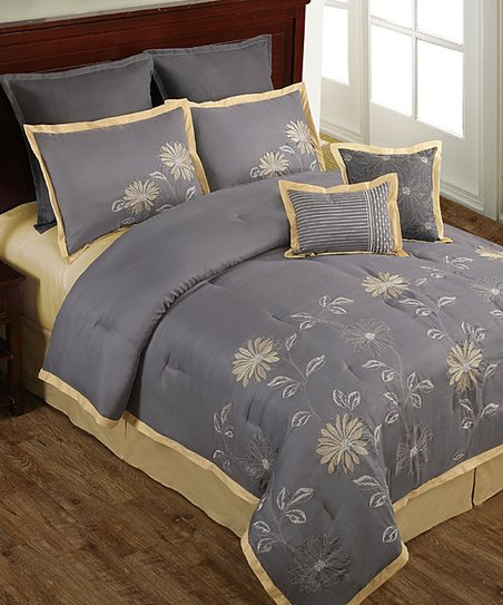 Gray & Yellow Mayflower Floral Comforter Set