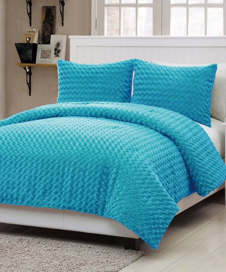 Blue Rose Fur Twin Comforter Set