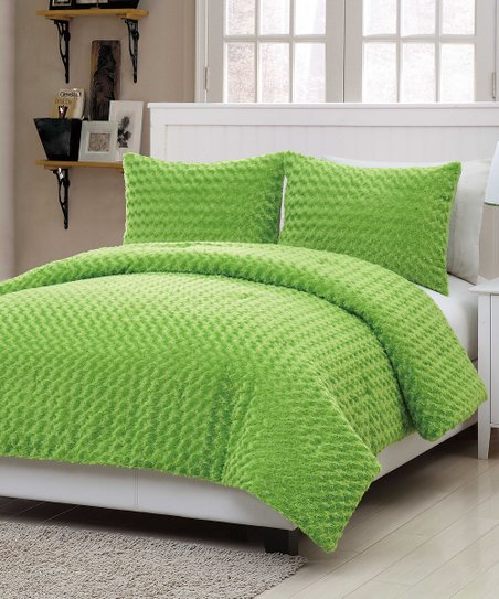 Green Rose Fur Comforter Set