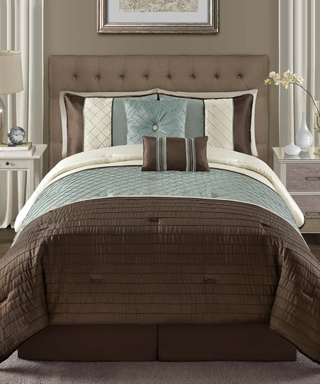 Blue Vaugh Pin Tuck Comforter Set