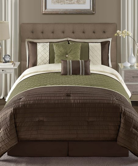 Green Vaugh Pin Tuck Comforter Set
