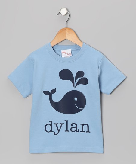 Light Blue Whale Personalized Tee - Toddler & Kids