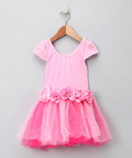 Pink Rosette Velvet Princess Dress - Girls