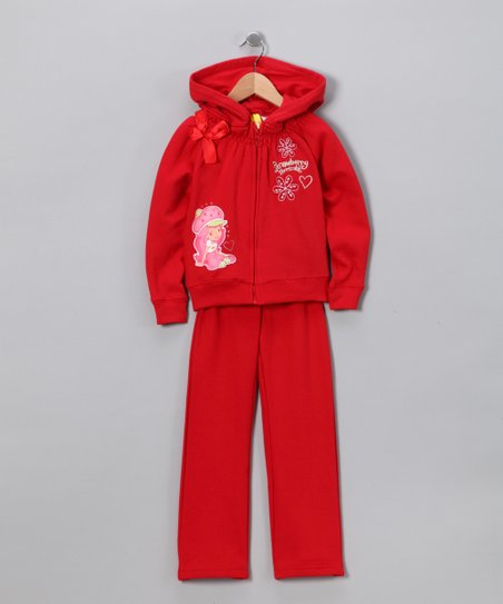 Red Strawberry Shortcake Velour Zip-Up Hoodie & Pants - Girls