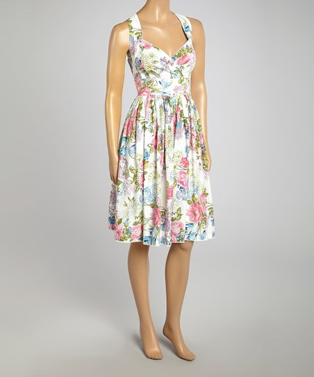 Off-White & Pink Floral Surplice Dress - Women