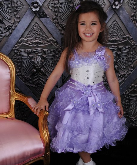 Lavender Ruffle Dress & Sheer Shrug – Toddler & Girls