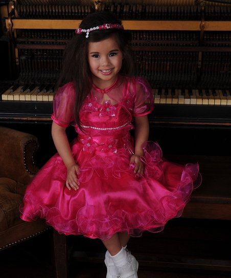 Fuchsia Ruffle Dress & Sheer Shrug – Toddler & Girls