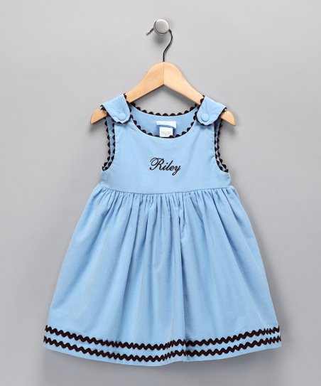 Light Blue Corduroy Personalized Dress - Infant, Toddler & Girls