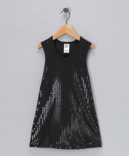 Angela Frost Black Sequin Dress - Toddler & Girls
