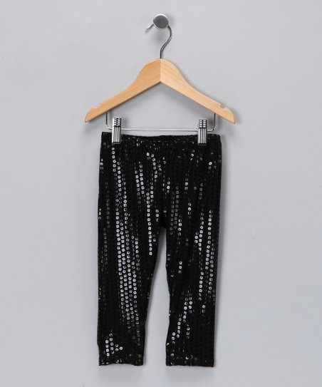 Angela Frost Black Sequin Leggings - Toddler & Girls