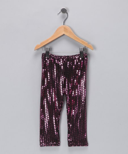 Angela Frost Metallic Pink Sequin Leggings - Toddler & Girls