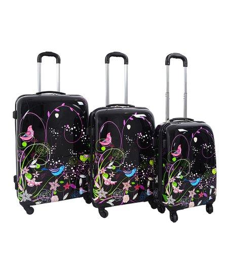 Black Lovely Birds Three-Piece Travel Case Set